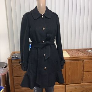 Kate Spade Black Wool Blend Ruffle Hem Belted Coat